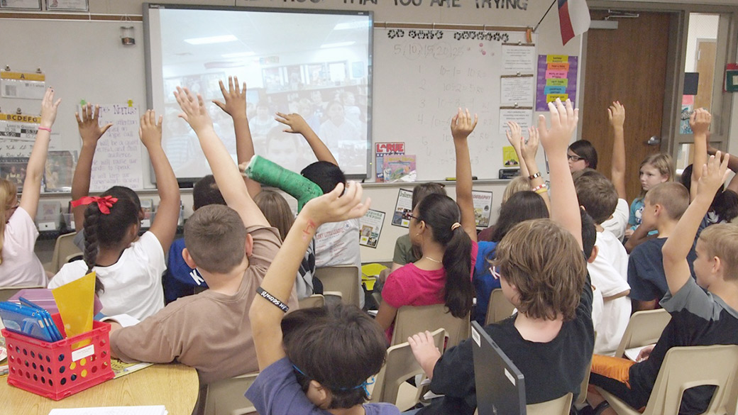 Classroom with students using Skype.